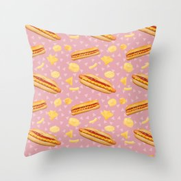 Hot Dogs and Chips - on Pink Throw Pillow