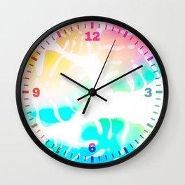 Prismatic Monstera Leaves Wall Clock