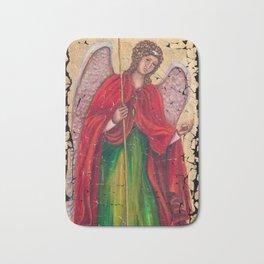 Archangel Gabriel Fresco With A Crackled Finish for #Society6 Bath Mat