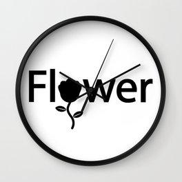 Flower typography design Wall Clock