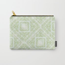 White, light green geometric pattern. Carry-All Pouch