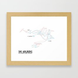 Ski Arlberg - St. Christoph and St. Anton - Labeled - Tirol, Austria - Minimalist Winter Trail Art Framed Art Print