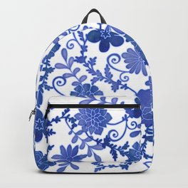 Floral China Blue Watercolor Pattern Backpack
