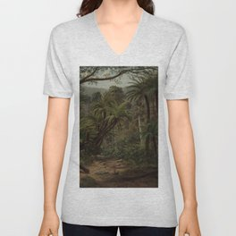 Ferntree and Palms, Tropical Gully landscape portrait by Eugene von Guerard Unisex V-Neck