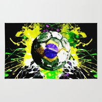brazil Area & Throw Rugs featuring football Brazil by seb mcnulty