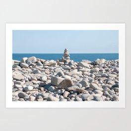 ROCK BEACH, cairn Art Print