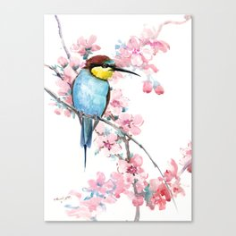 Bee-Eater and Spring Blossom, Turquoise Pink floral decor Canvas Print