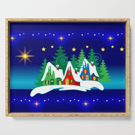 Christmas, Home for the Holidays Midnight Blue, Holiday Fantasy Collection Serving Tray