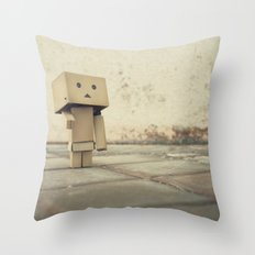 Danbo on the street Throw Pillow