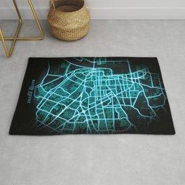 Baton Rouge, LA, USA, Blue, White, Neon, Glow, City, Map Rug