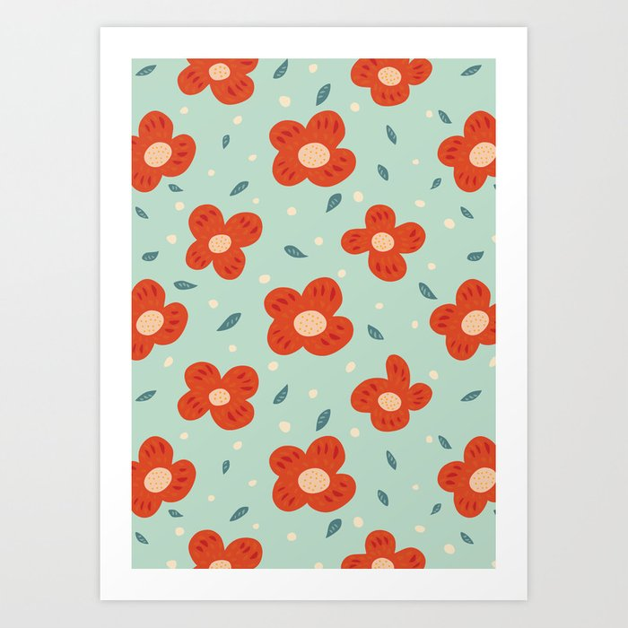 Simple Pretty Orange Flowers Pattern Art Print