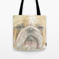 english bulldog Tote Bags featuring ENGLISH BULLDOG by Canisart