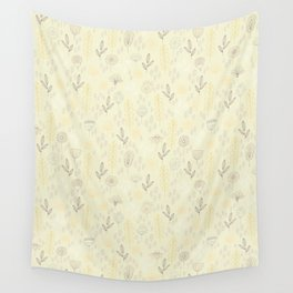 Pastel Yellow Green Floral Wall Tapestry