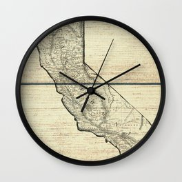 Vintage Map of California Wall Clock