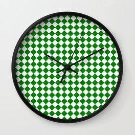Small Diamonds - White and Green Wall Clock