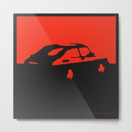 Saab 900 classic, Red on Black Metal Print