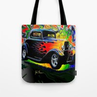 ford Tote Bags featuring 32 Ford by JT Digital Art