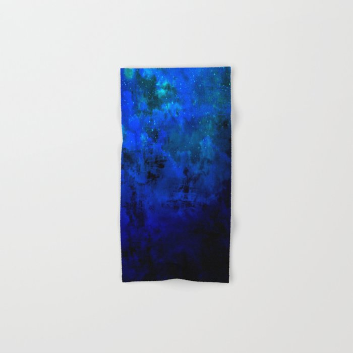 SECOND STAR TO THE RIGHT Rich Indigo Navy Blue Starry Night Sky Galaxy Clouds Fantasy Abstract Art Hand & Bath Towel