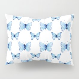 Blue Butterflies Pattern Butterfly Watercolor Pillow Sham