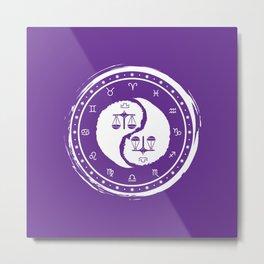 Libra Yin Yang Seventh Zodiac Sign Metal Print