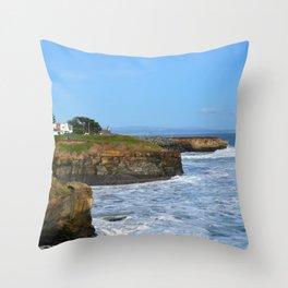 Ocean Cliffs in Santa Cruz Throw Pillow