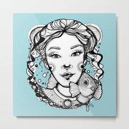 Ciro and Coralbabe Blue Metal Print