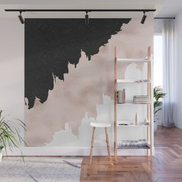 Modern black lace pink rose gold brushstrokes Wall Mural