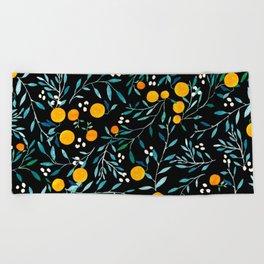 Oranges Black Beach Towel