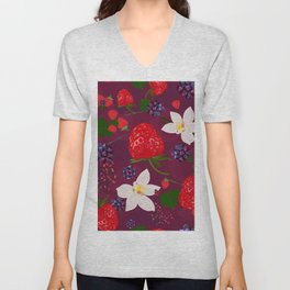 Strawberry, blackberry and vanilla flower. Red berries pattern Unisex V-Neck