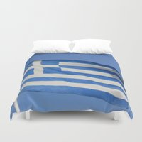 greece Duvet Covers featuring Greece Flag by WonderfulDreamPicture