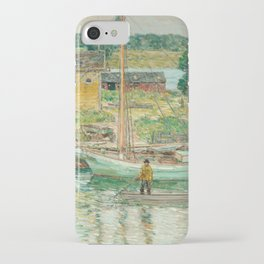 Oyster Sloop, Cos Cob 1902 by Childe Hassam iPhone Case