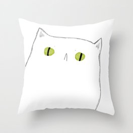White Cat Face Throw Pillow