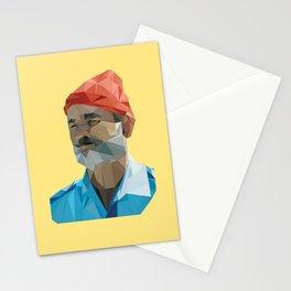 Steve Zissou low poly portrait Stationery Cards