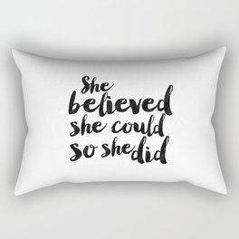 She Believed She Could So She Did,Children Room Decor,Kids Room Decor,Nursery Decor,Typography Art Rectangular Pillow