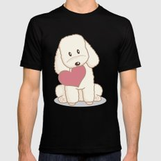 Toy Poodle Dog with Love Illustration Black Mens Fitted Tee MEDIUM