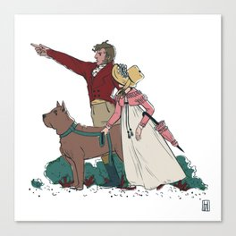 Marianne & Willoughby A Stroll with a Dog Canvas Print