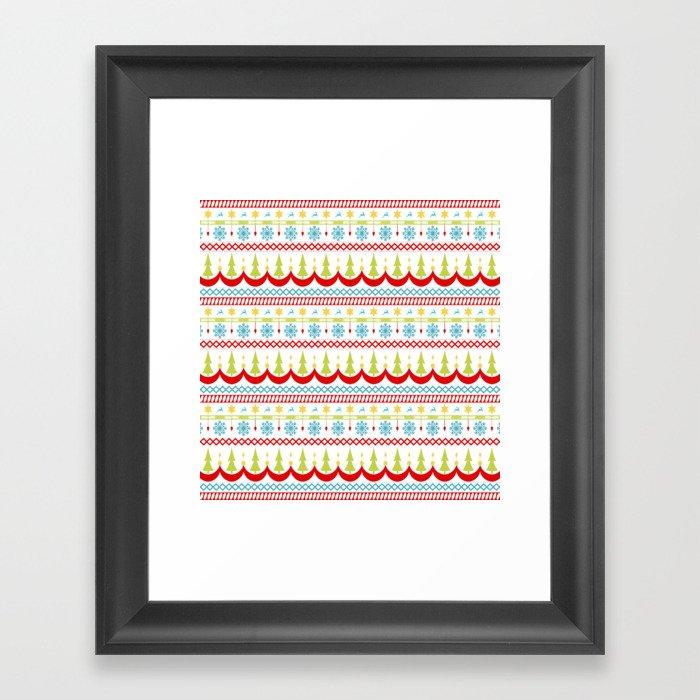 Homespun Christmas Striped Pattern Gerahmter Kunstdruck