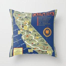 CALIFORNIA University map MAP Berkeley Throw Pillow