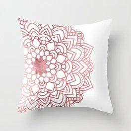 Elegant faux rose gold floral mandala Throw Pillow