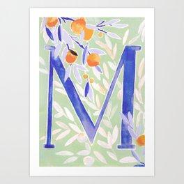 Monogram letter M Citrus Grove Initial Watercolor Art Print