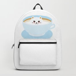Cute Kawai cat in blue cup Backpack