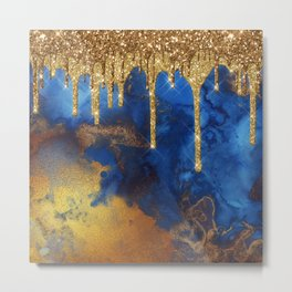 Gold Rain on Indigo Marble Metal Print