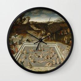 Lucas Cranach Der Jungbrunnen Fountain Of Youth Wall Clock