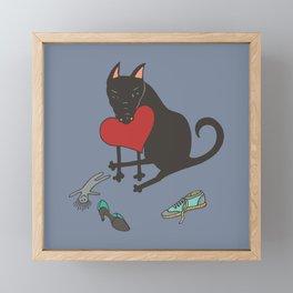 Black Dog Love Framed Mini Art Print