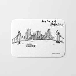 Ink Sketch Pittsburgh Skyline Bath Mat