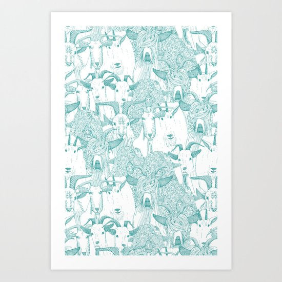 just goats teal Art Print