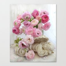 Pink Floral Dreaming Angel Canvas Print