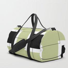 White Hairline Squares in Light Sand Duffle Bag