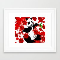 red panda Framed Art Prints featuring Panda by Saundra Myles