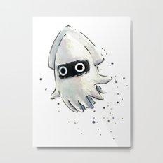 Blooper Squid Mario Watercolor Geek Art Metal Print